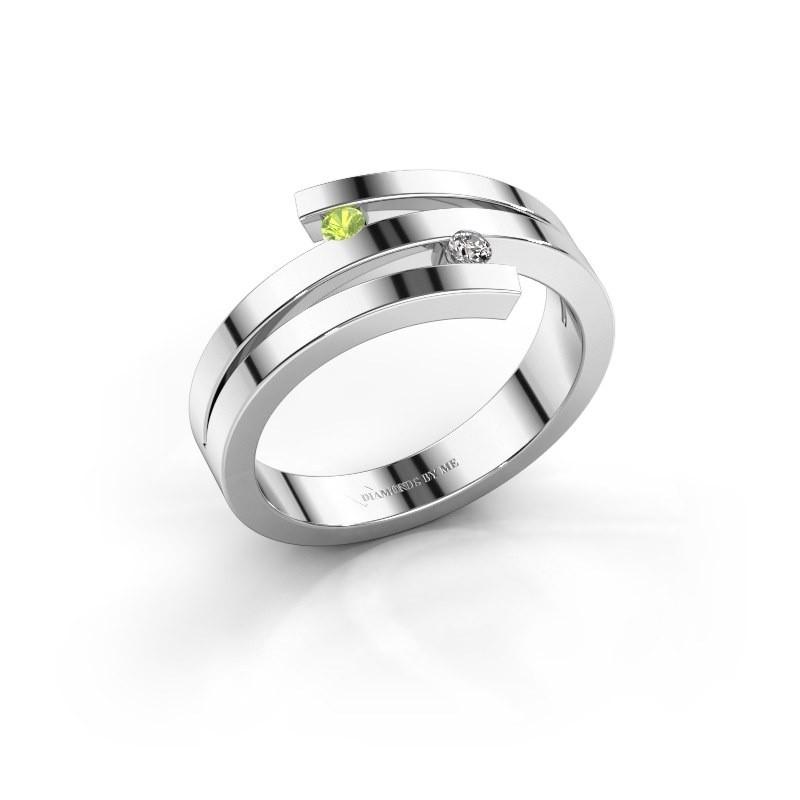 Ring Roxane 585 witgoud peridoot 2 mm