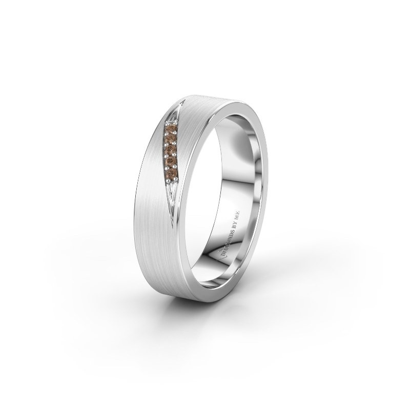 Wedding ring WH2148L25AM 585 white gold brown diamond ±5x1.7 mm