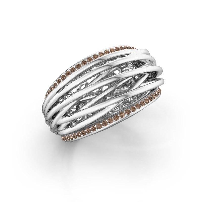 Ring Kirstin 950 platina bruine diamant 0.27 crt