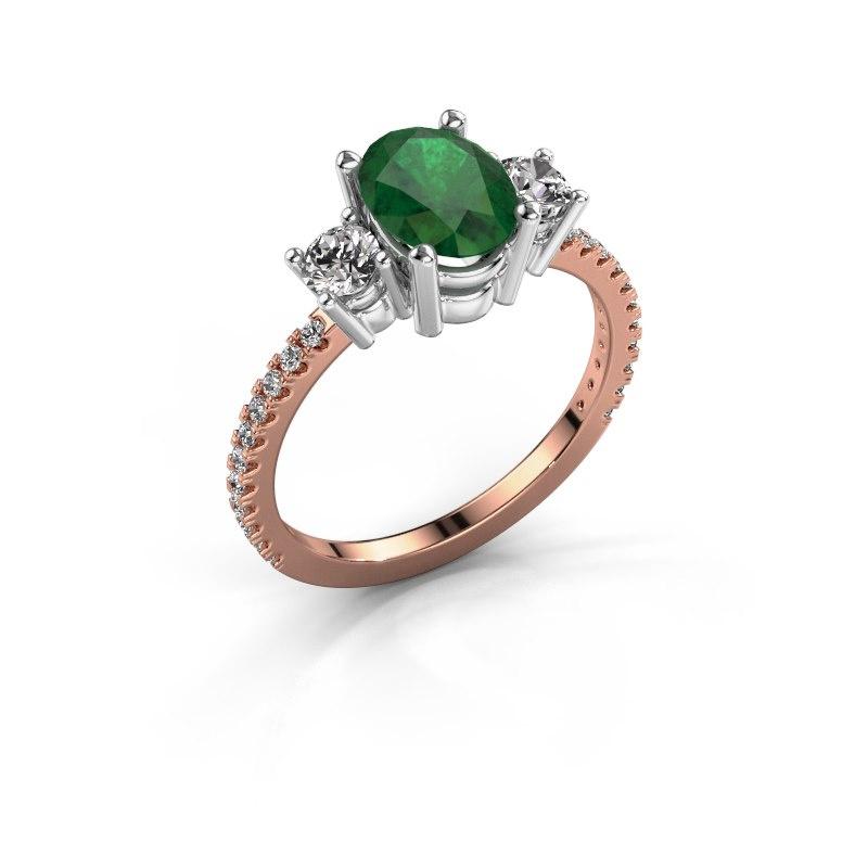 Verlobungsring Emelda 585 Roségold Smaragd 8x6 mm