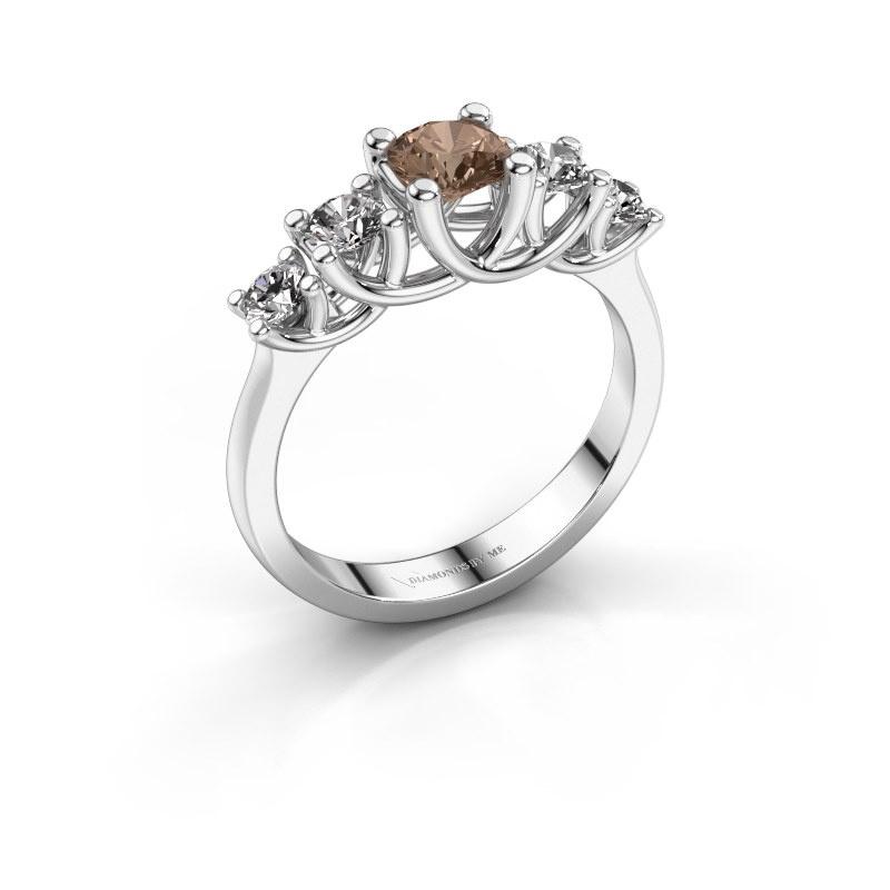 Bague de fiançailles Jet 585 or blanc diamant brun 1.00 crt
