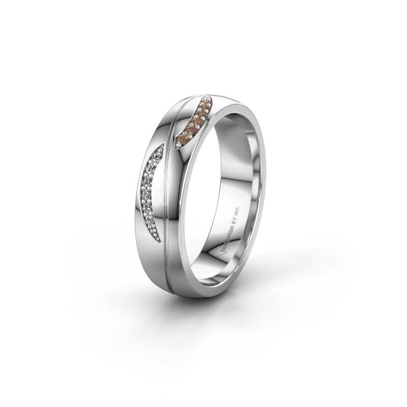 Trouwring WH2118L25A 950 platina bruine diamant ±5x1.7 mm