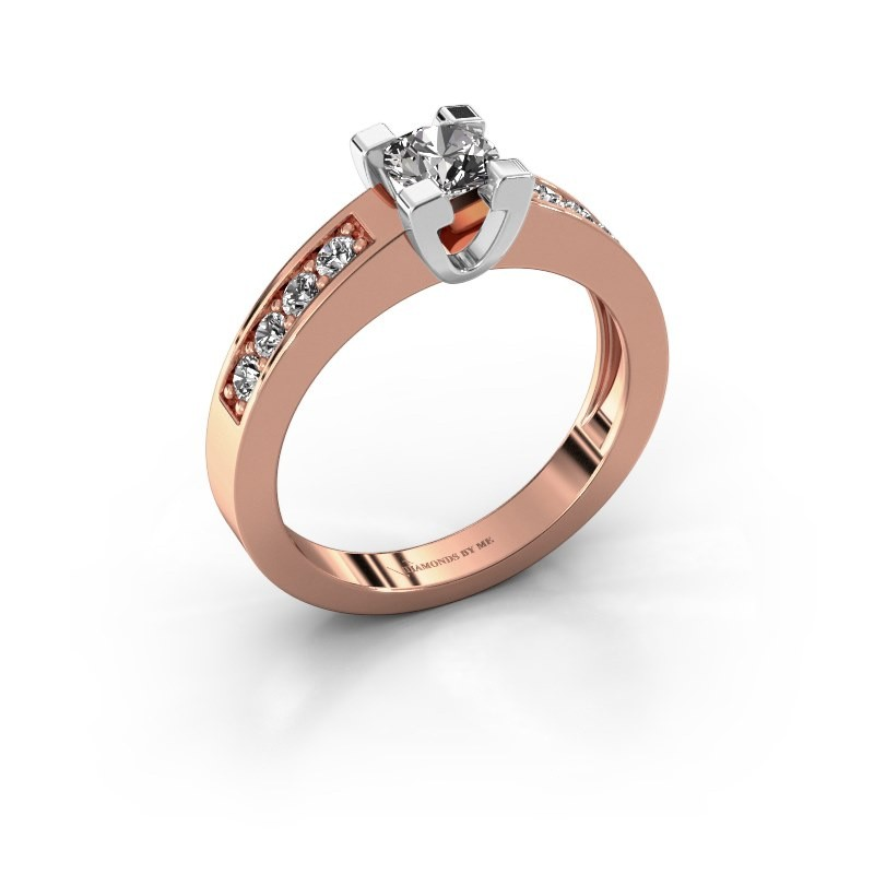 Aanzoeksring Anne 2 585 rosé goud diamant 0.50 crt