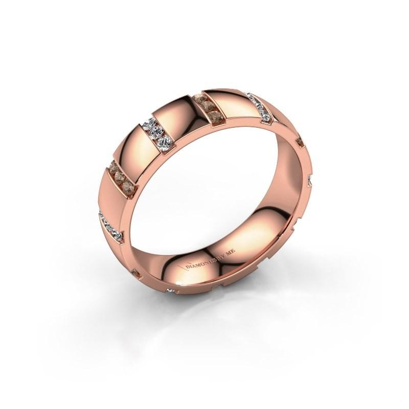 Huwelijksring Juul 375 rosé goud bruine diamant ±5x1.8 mm