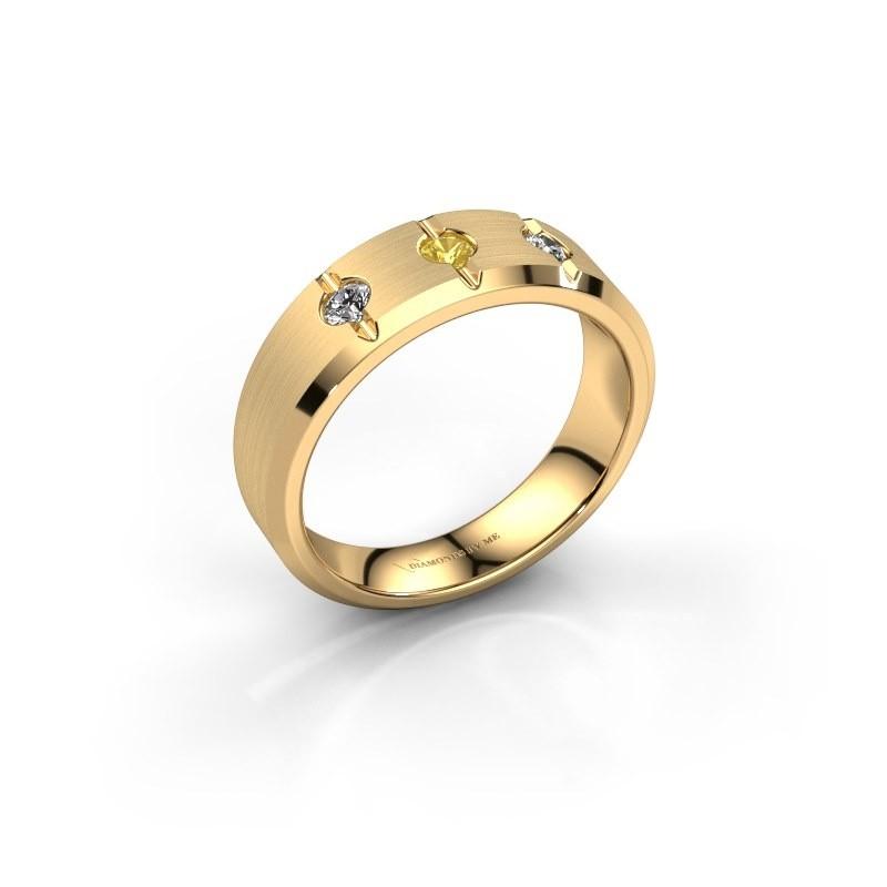 Heren ring Remco 585 goud gele saffier 2.7 mm