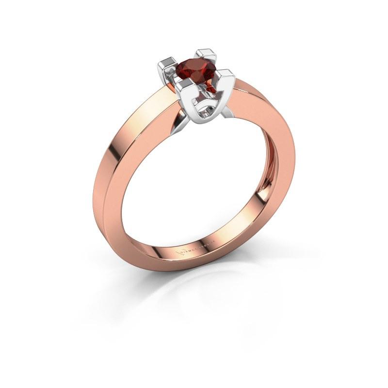 Verlovingsring Nina 1 585 rosé goud granaat 3.7 mm