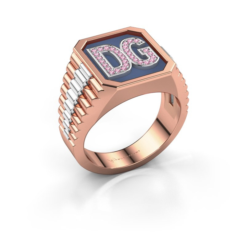 Signet ring Mike 585 rose gold pink sapphire 1 mm