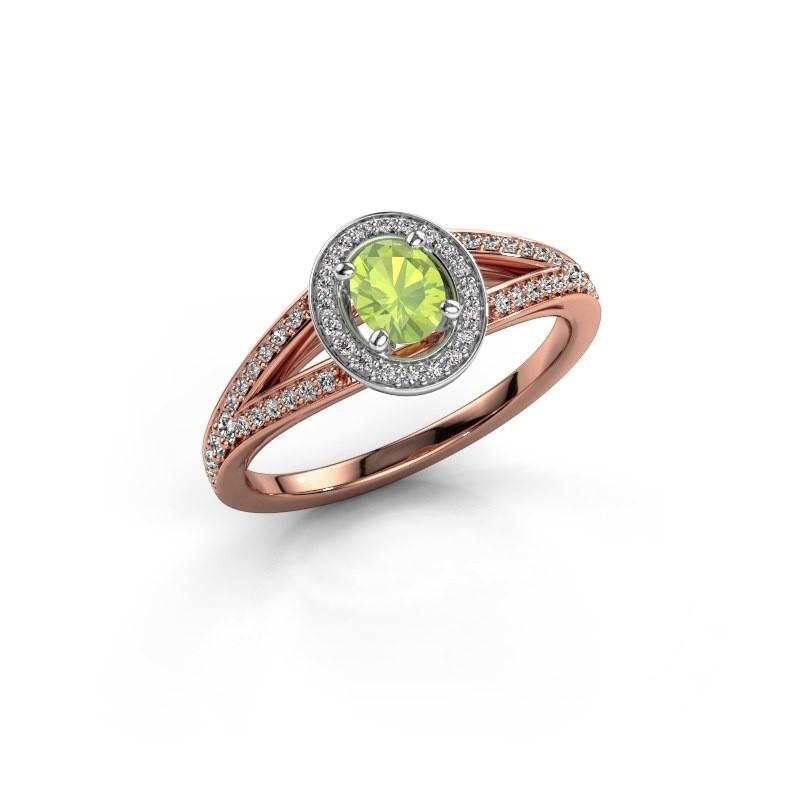 Verlovings ring Angelita OVL 585 rosé goud peridoot 6x4 mm