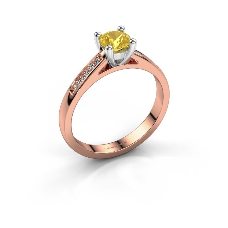 Engagement ring Nynke 585 rose gold yellow sapphire 4.7 mm