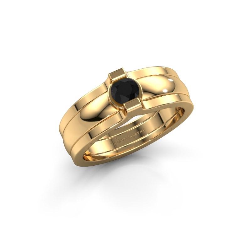 Ring Jade 585 gold black diamond 0.30 crt