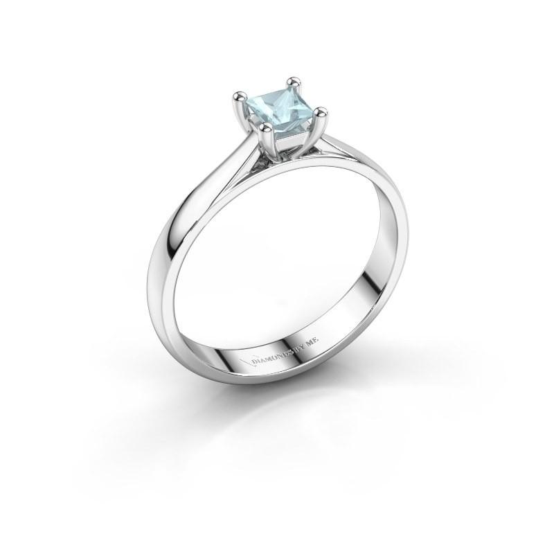 Engagement ring Sam Square 950 platinum aquamarine 4 mm