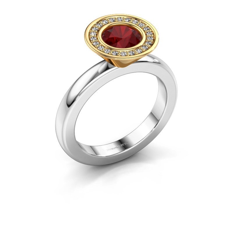 Stacking ring Danille 585 white gold ruby 6 mm