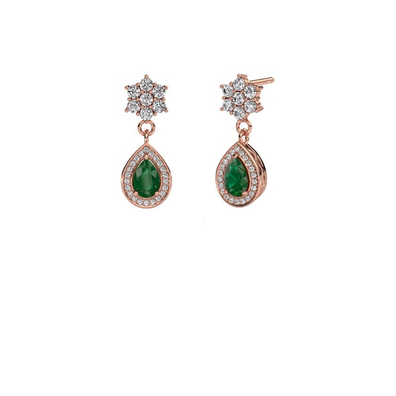 Drop earrings Era 585 rose gold emerald 6x4 mm