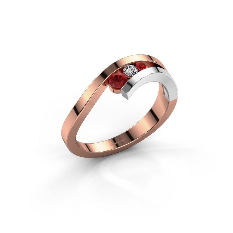Ring Evalyn 2 585 rosé goud robijn 2.8 mm