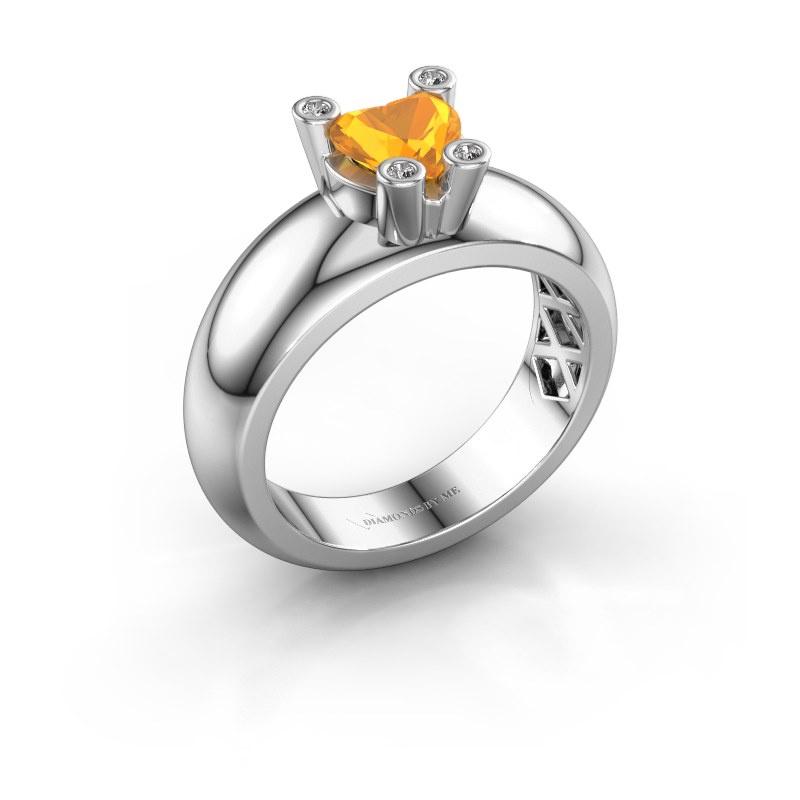 Ring Cornelia Heart 585 white gold citrin 6 mm