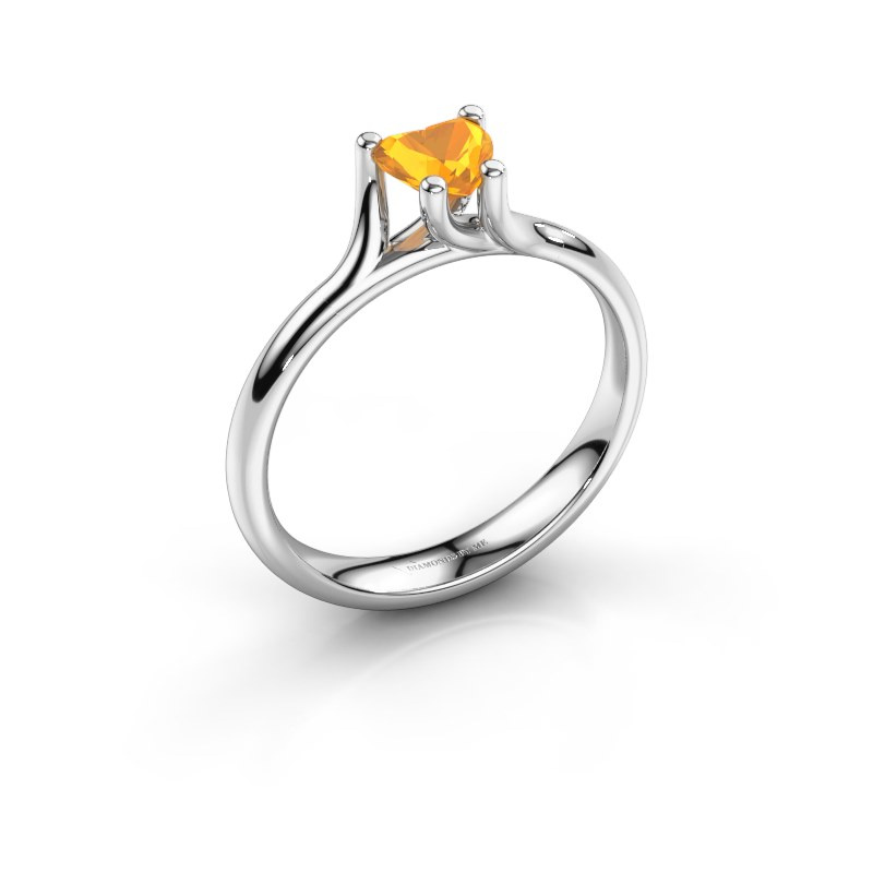 Engagement ring Dewi Heart 585 white gold citrin 5 mm