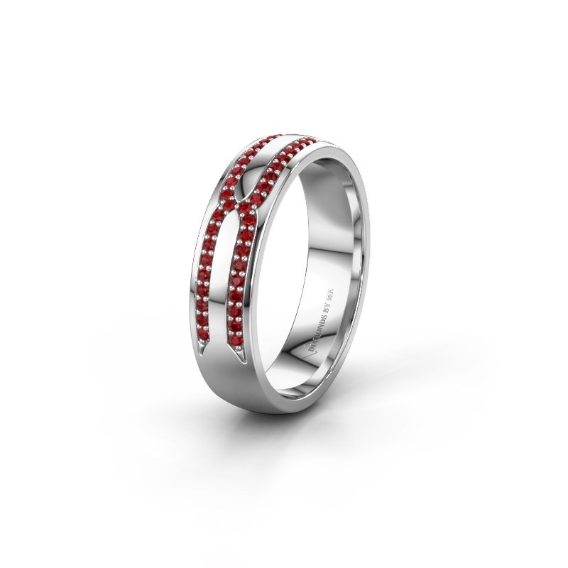 Wedding ring WH2212L25AP 950 platinum ruby ±5x1.7 mm
