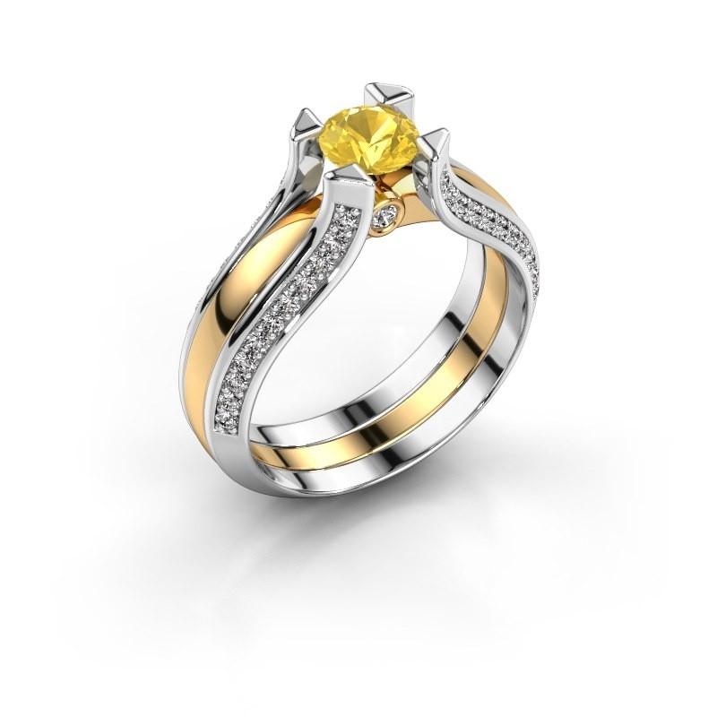 Verlovingsring Nadine 585 goud gele saffier 5 mm