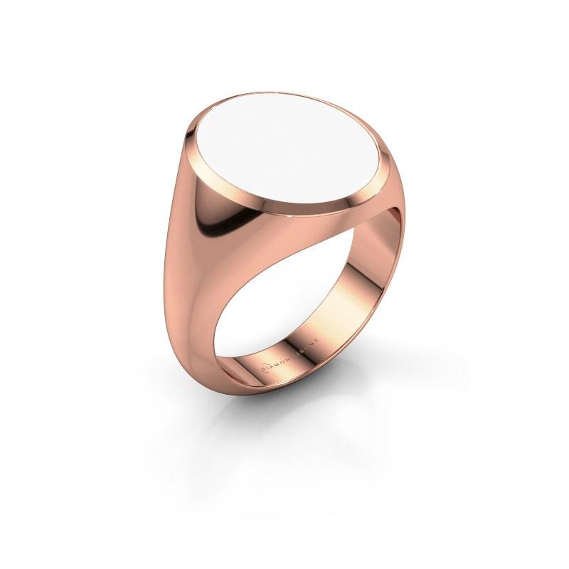 Signet ring Herman 6 375 rose gold white enamel 16x13 mm
