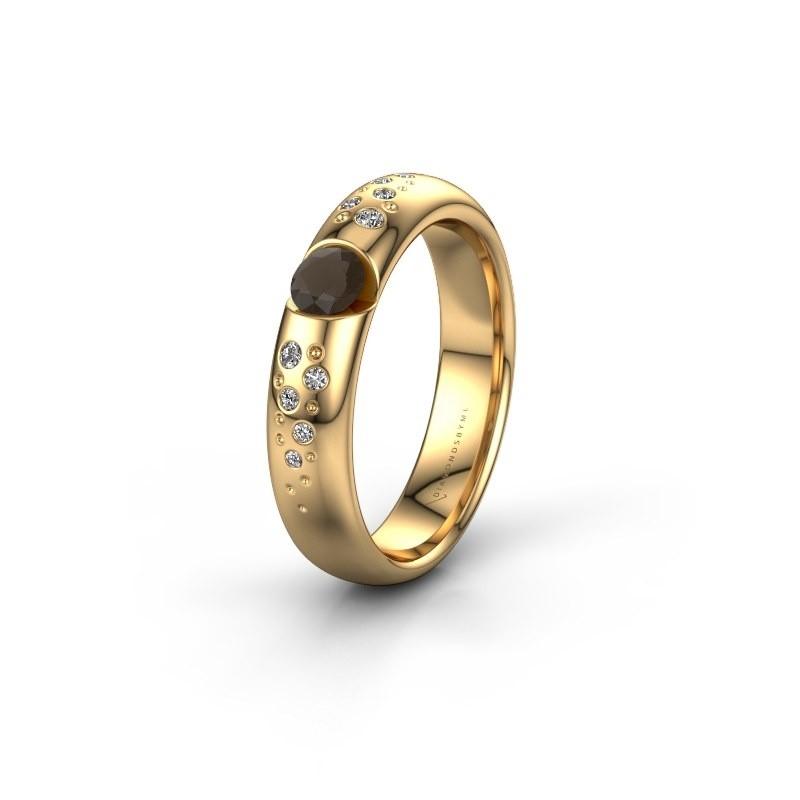 Trouwring WH2104L34A 375 goud rookkwarts ±4x1.7 mm