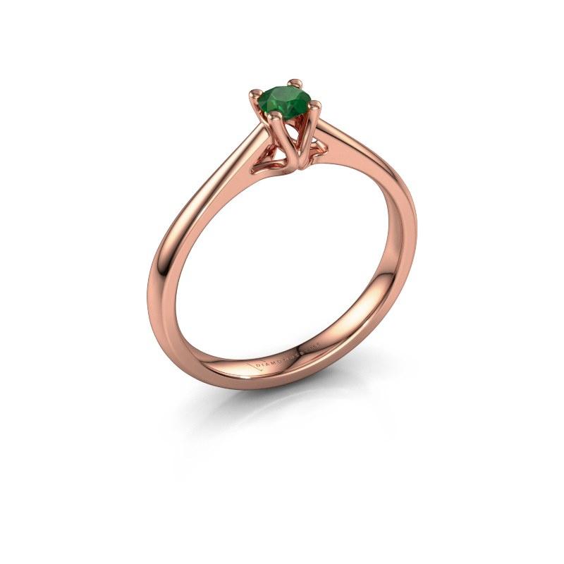 Verlobungsring Janna 1 585 Roségold Smaragd 3.4 mm