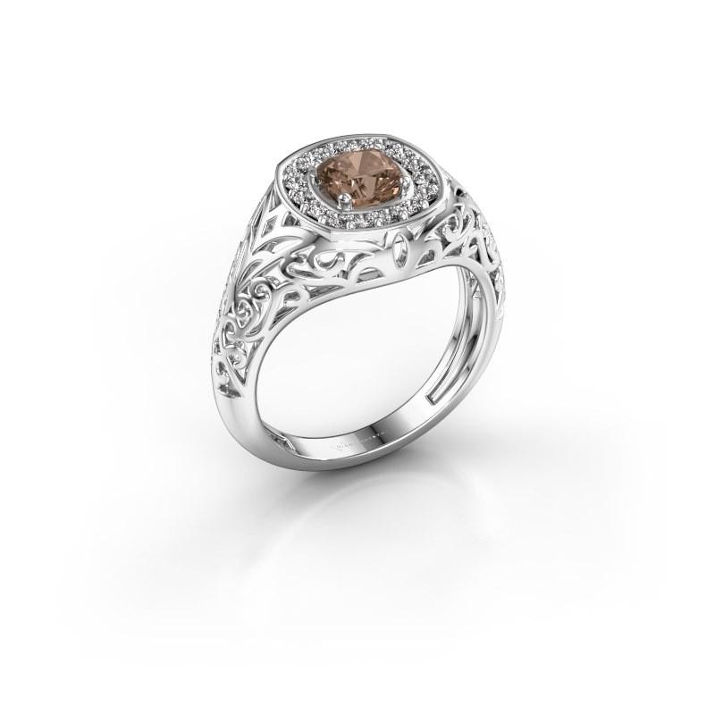 Men's ring Quinten 925 silver brown diamond 0.66 crt
