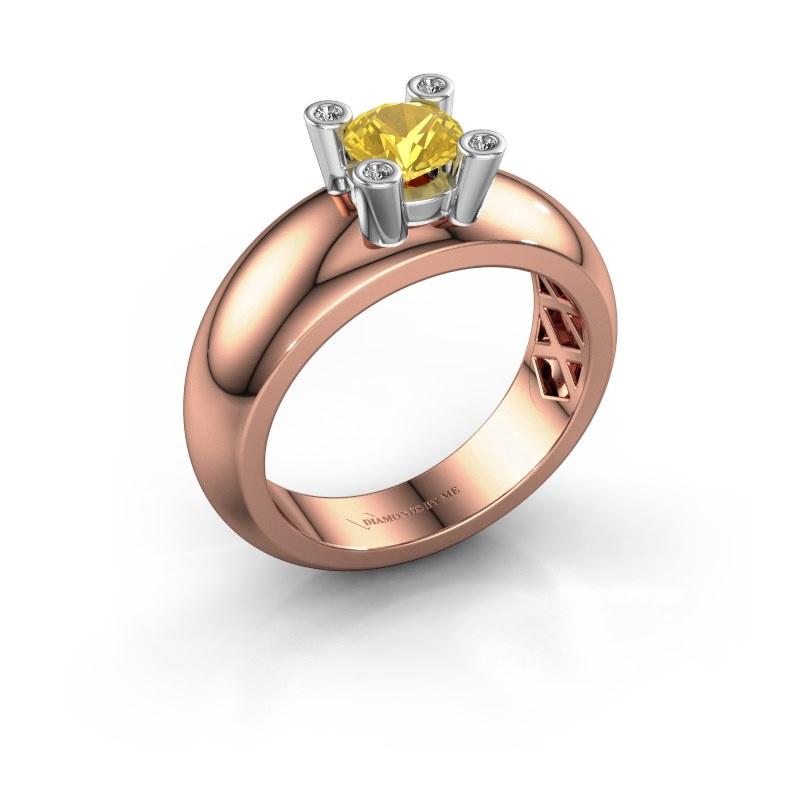 Ring Cornelia Round 585 rose gold yellow sapphire 5 mm
