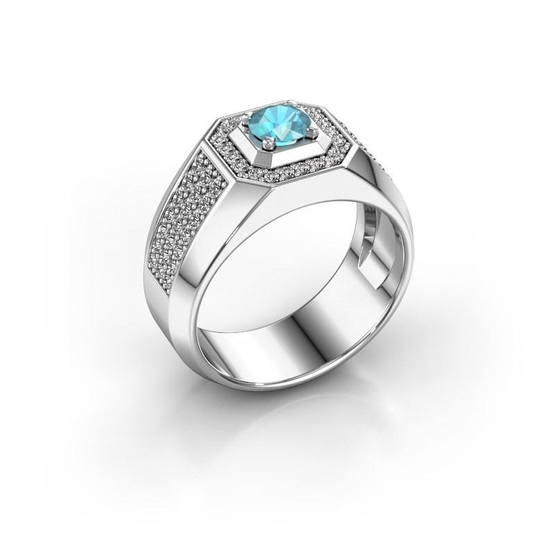 Heren ring Pavan 950 platina blauw topaas 5 mm