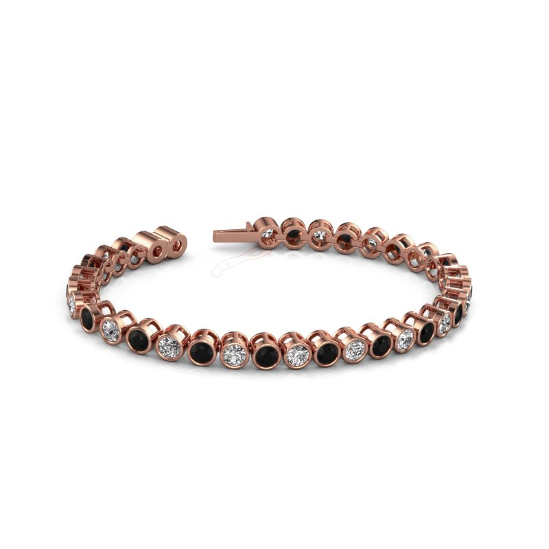 Tennisarmband Allegra 4 mm 375 rosé goud zwarte diamant 10.45 crt