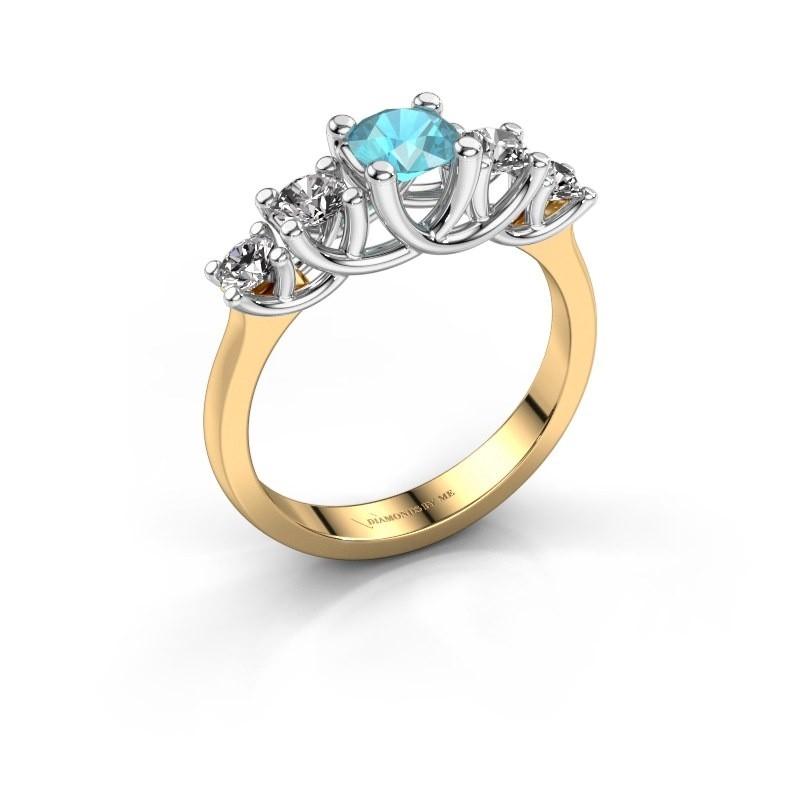 Engagement ring Jet 585 gold blue topaz 5 mm