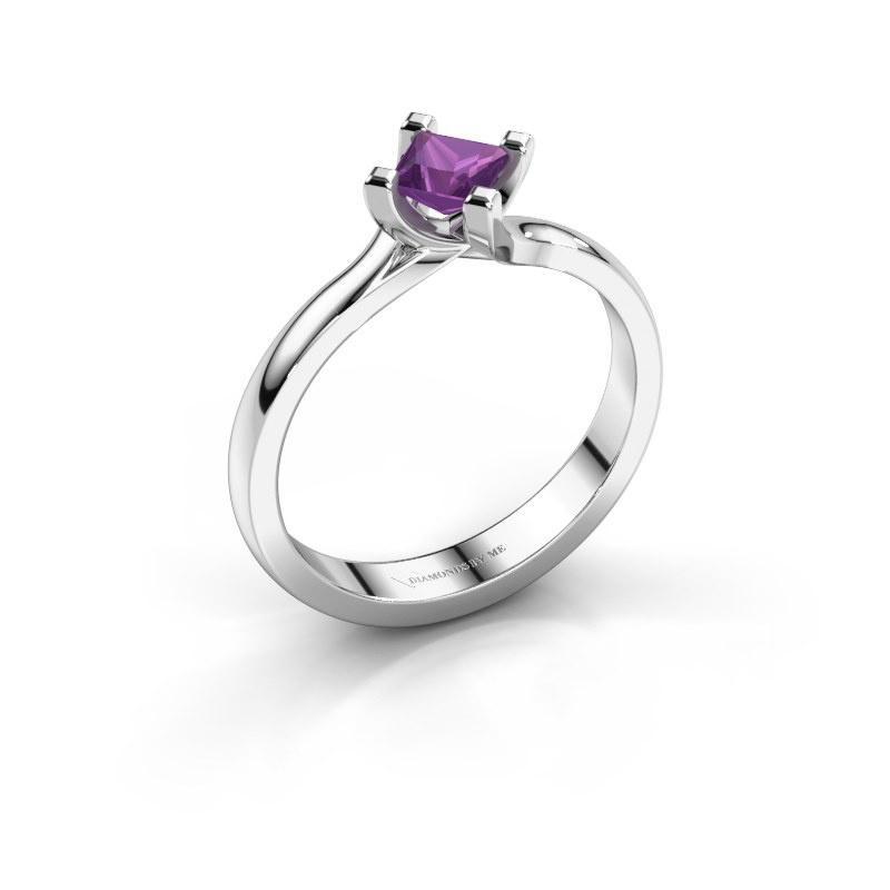 Engagement ring Dewi Square 950 platinum amethyst 4 mm