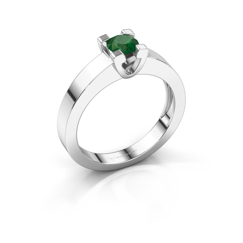 Promise ring Anne 1 585 witgoud smaragd 4.7 mm