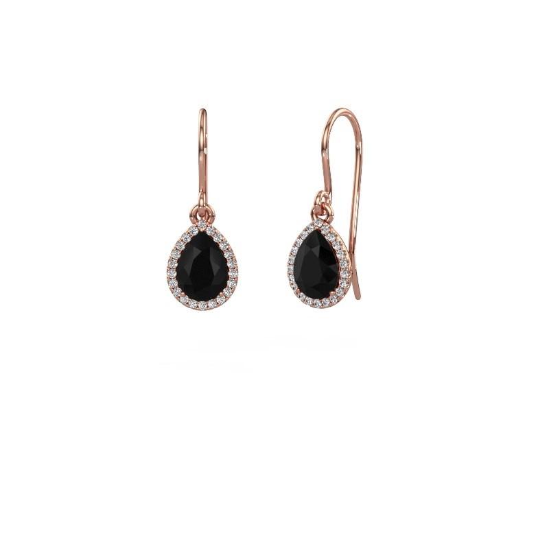 Ohrhänger Seline per 375 Roségold Schwarz Diamant 1.00 crt
