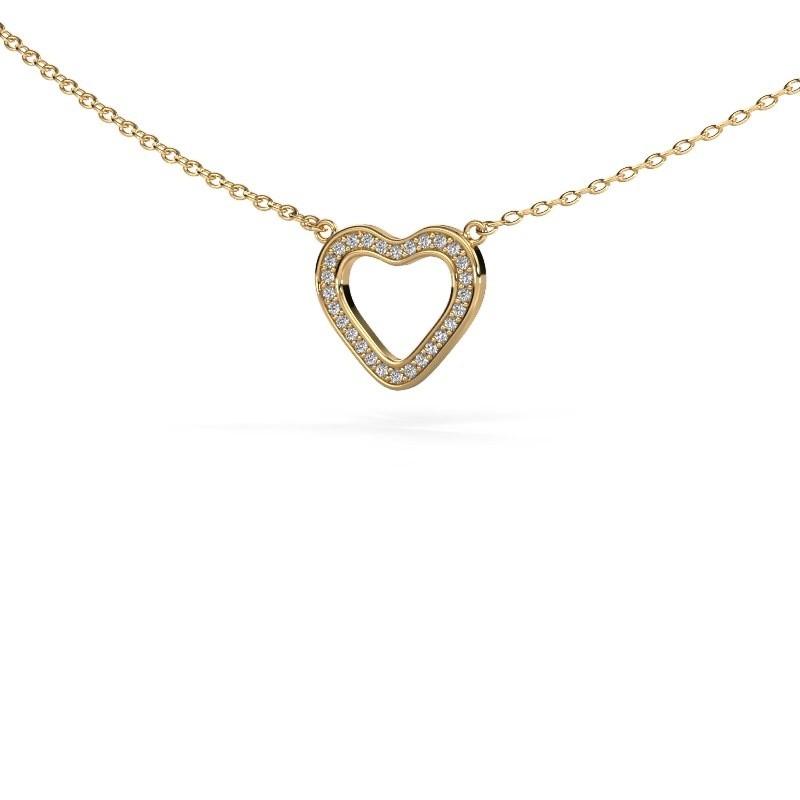 Pendentif Heart 3 375 or jaune zircone 0.8 mm