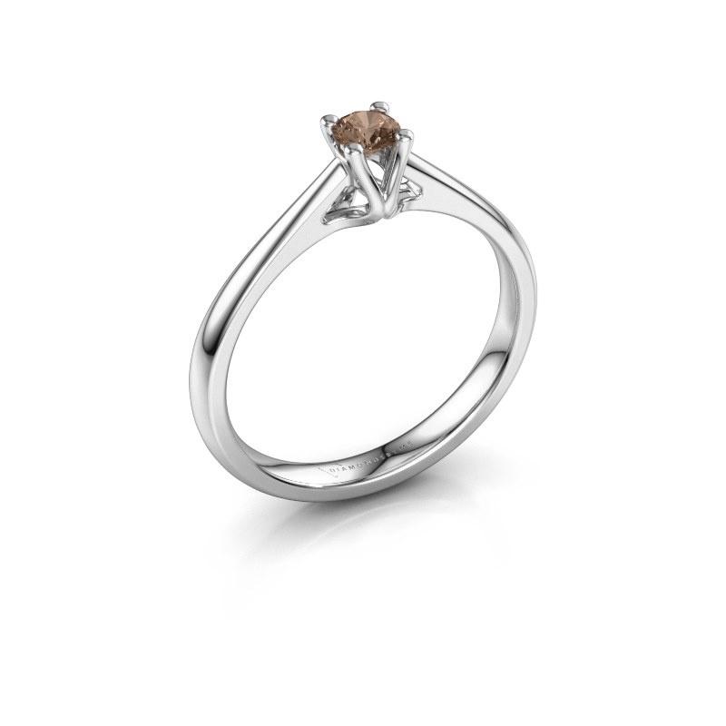 Bague de fiançailles Janna 1 950 platine diamant brun 0.15 crt