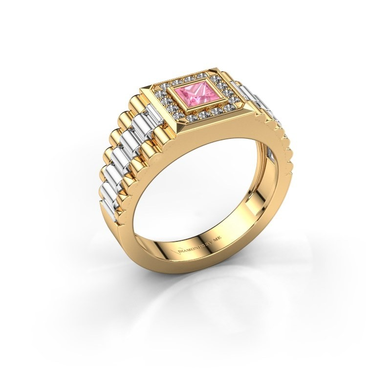 Heren ring Zilan 585 goud roze saffier 4 mm