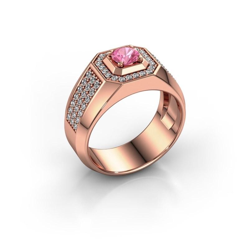 Heren ring Pavan 375 rosé goud roze saffier 5 mm