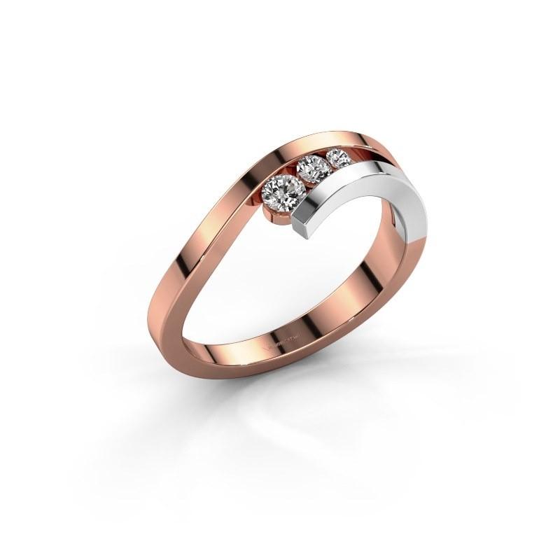 Ring Evalyn 2 585 rosé goud zirkonia 2.8 mm