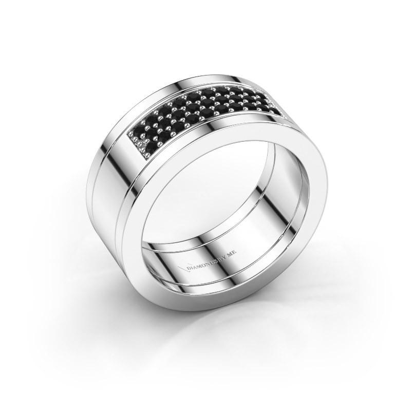 Ring Marita 3 925 zilver zwarte diamant 0.348 crt