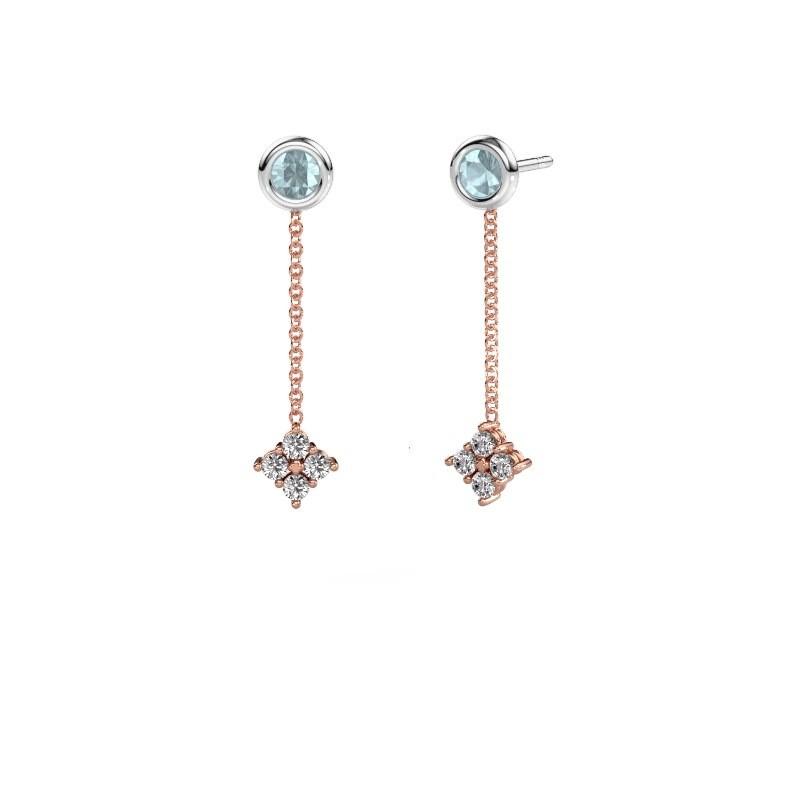 Drop earrings Ardith 585 rose gold diamond 0.24 crt
