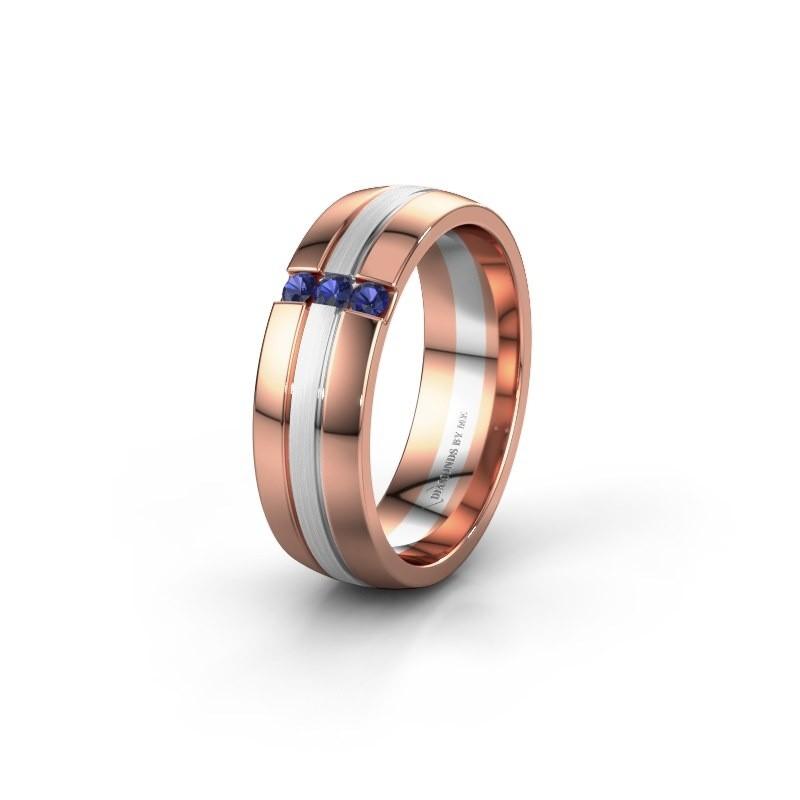 Trouwring WH0426L26A 585 rosé goud saffier ±6x1.7 mm