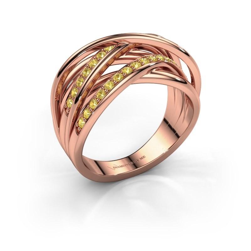 Ring Fem 2 375 rose gold yellow sapphire 1.5 mm