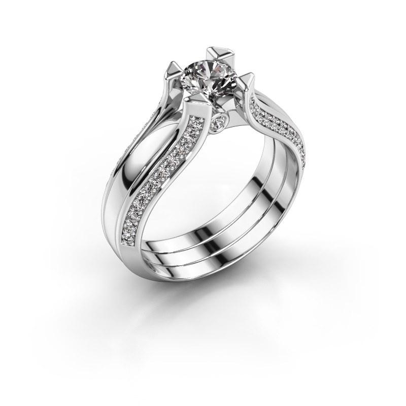 Engagement ring Nadine 950 platinum zirconia 5 mm