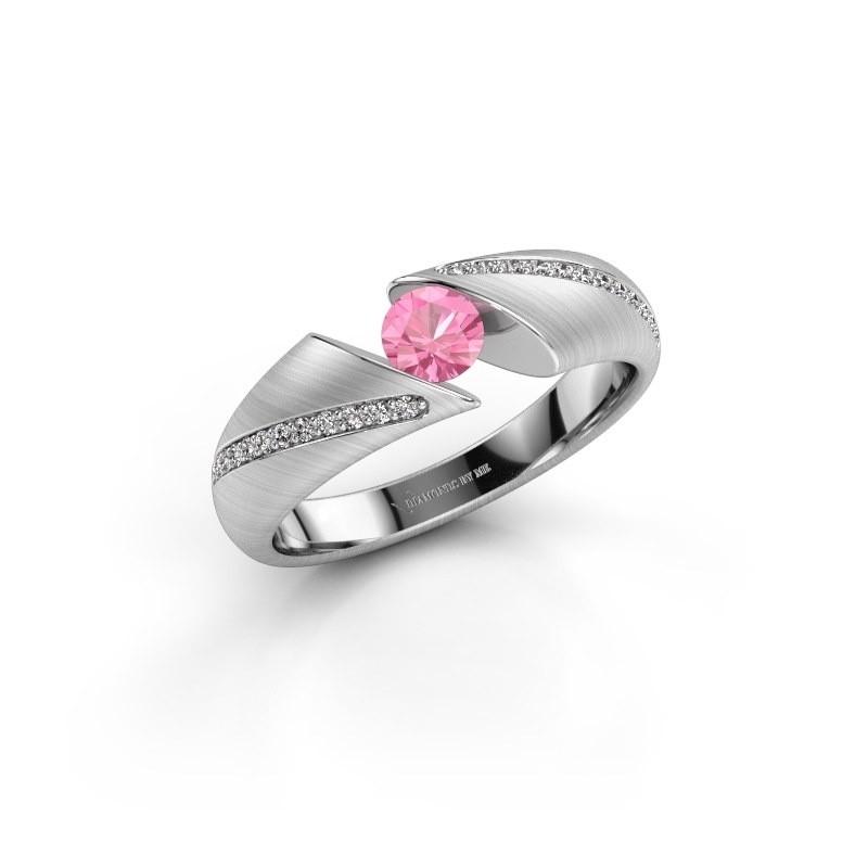 Verlovingsring Hojalien 2 950 platina roze saffier 4.2 mm