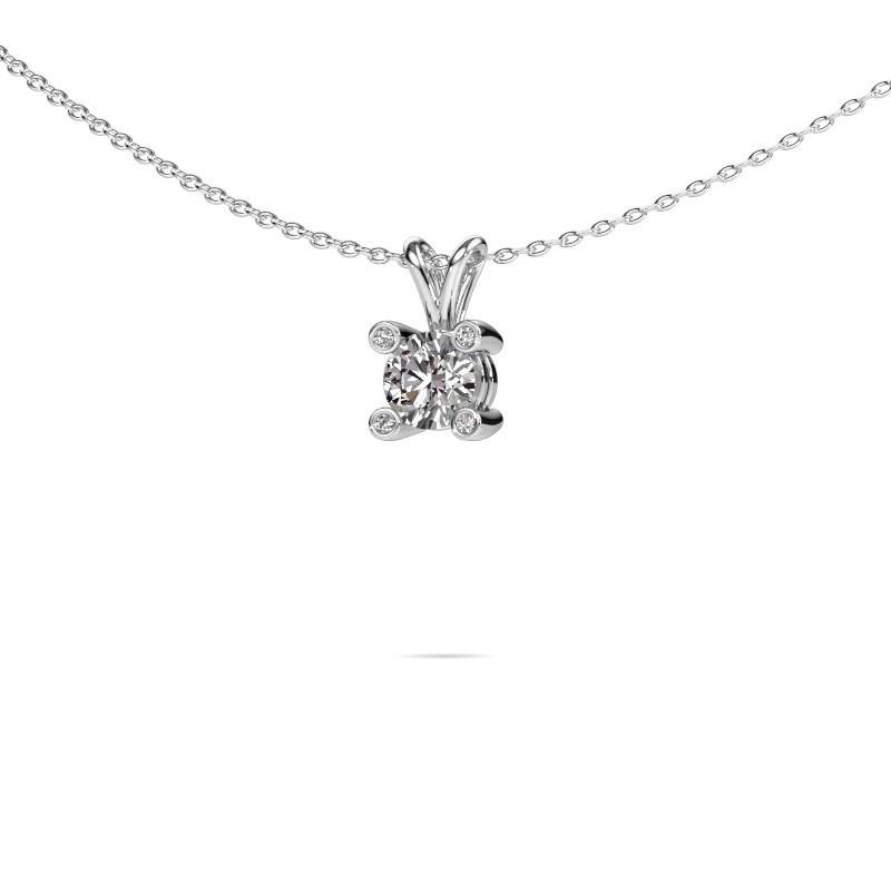 Hanger Fleur 375 witgoud diamant 0.40 crt