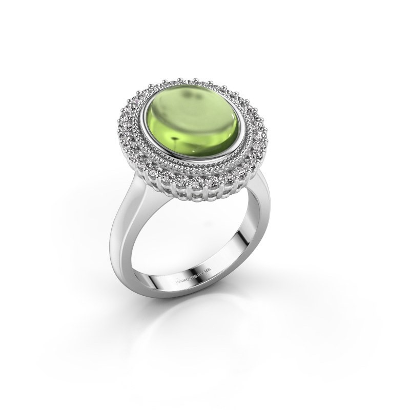 Ring Mila 925 zilver peridoot 12x10 mm