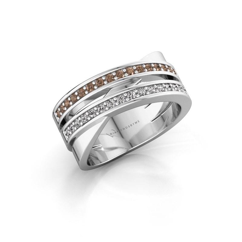 Ring Margje 585 white gold brown diamond 0.32 crt