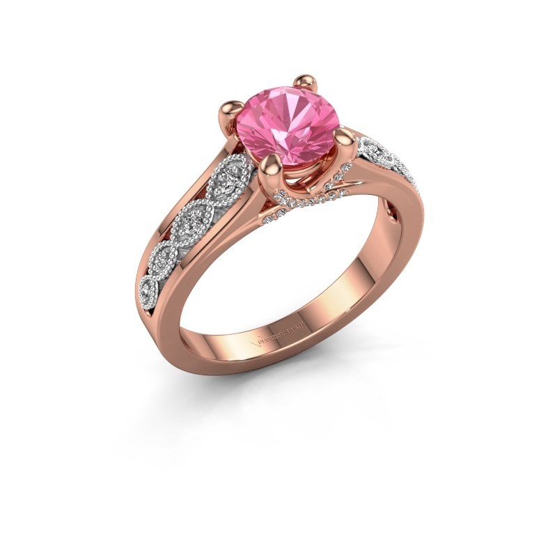 Engagement ring Clarine 585 rose gold pink sapphire 6.5 mm