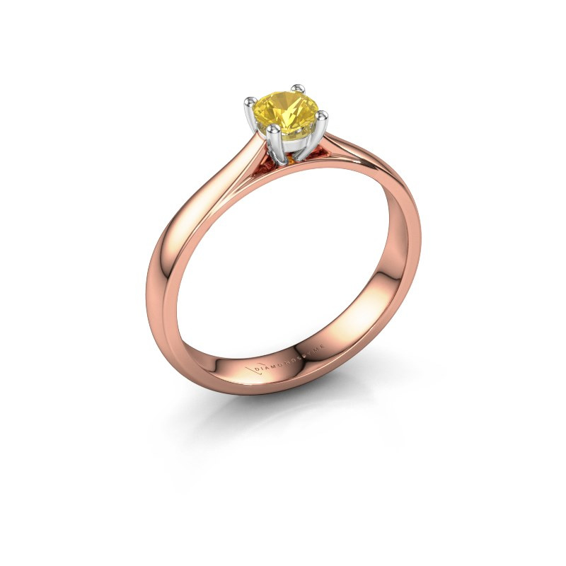 Engagement ring Sam 585 rose gold yellow sapphire 4.2 mm