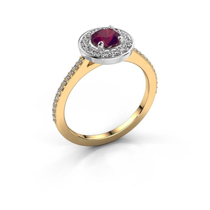 Ring Agaat 2 585 goud rhodoliet 5 mm